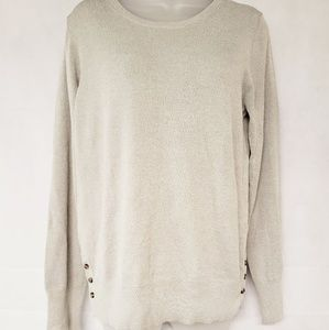 ANN TAYLOR Gray Crew Neck Sweater Blouse